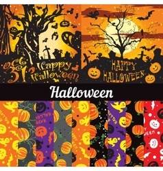 Set posters seamless pattern for halloween vector