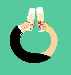 wedding male and female hand to drink wine to vector image