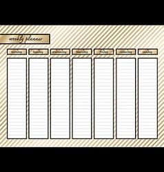 Weekly planner gold stripe horizontal vector