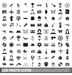 100 photo icons set simple style vector