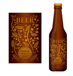 Beer label with floral ornament vector