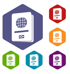 Passport icons set vector