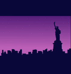 At night liberty scenery silhouettes vector