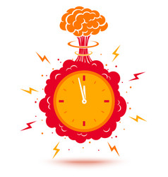 Clock with atomic bomb vector