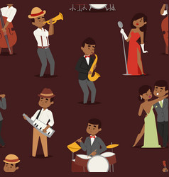 Jazz music seamless pattern group of creative vector