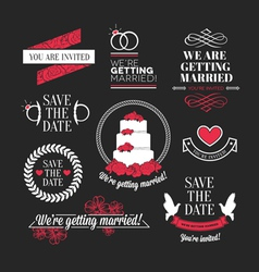 Wedding stamps mini set vector
