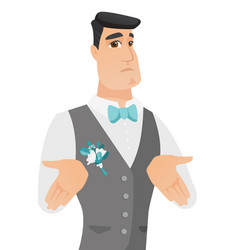 Young caucasian confused groom shrugging shoulders vector