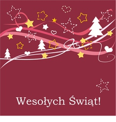 Red christmas card in polish Wesolych Swiat vector image