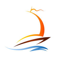 silhouette of a sailing boat on a wave vector image