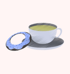 flat shading style icon cup of tea and donat vector image