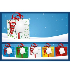 Christmas background gift with label vector