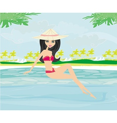 Young woman sunbathing by the pool vector
