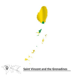 Map of saint vincent and grenadines with flag vector