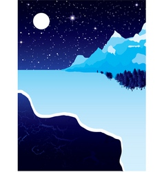 night landscape with winter snow ice and starry sk vector image