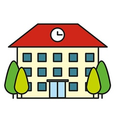 Building with clock on roof vector