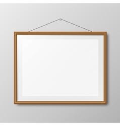 Realistic wooden photo frame vector