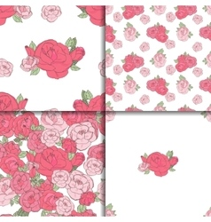 Set of four seamless floral patterns vector