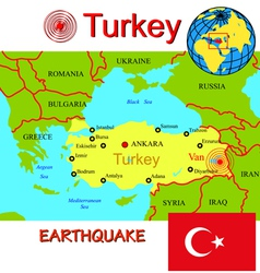 Turkey map with epicenter earthquake vector