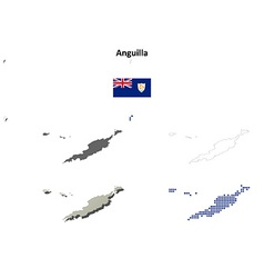 Anguilla outline map set vector
