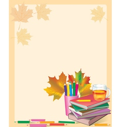 Autumn frame with school books vector image