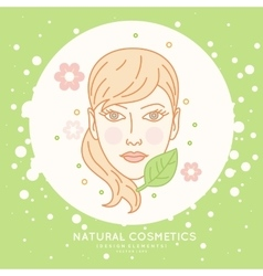 Linear label for natural cosmetics vector