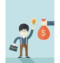 Asian young man with his bag and bulb vector image