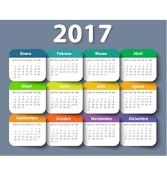 Calendar 2017 year design template in vector image vector image