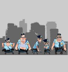 cartoon group of diverse men in police uniforms vector image vector image