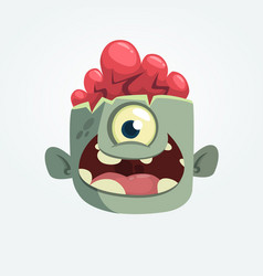 Cartoon one eyey zombie head smiling vector