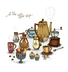 Coffee shop still life vector image vector image