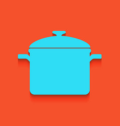Cooking pan sign whitish icon on brick vector
