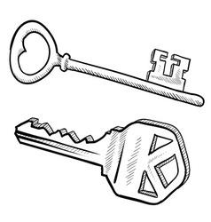 doodle keys vector image