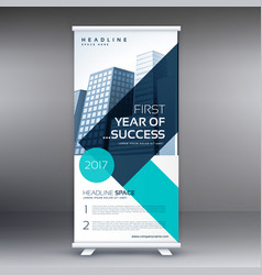Elegant blue geometric standee roll up business vector