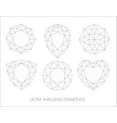 Elegant ultra thin line diamonds icons logo set vector