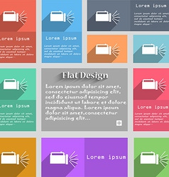 Flashlight icon sign set of multicolored buttons vector