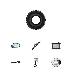 Flat auto set of wheel auto component conrod and vector