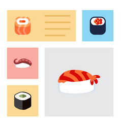 Flat icon maki set of gourmet eating sashimi and vector