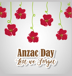Flowers hanging to anzac holiday memorial vector