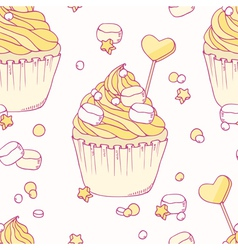 Hand drawn banana cupcake seamless pattern vector image