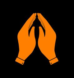 Hand icon prayer symbol orange icon vector
