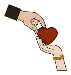 Male and female hands giving heart love symbol vector
