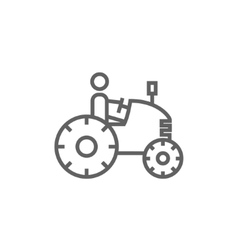 Man driving tractor line icon vector image