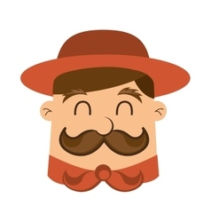 Man scout mustache icon vector