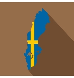 Map of Sweden icon flat style vector image vector image