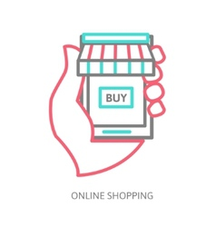 Mobile shopping button line design vector