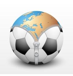 Planet earth inside soccer ball vector