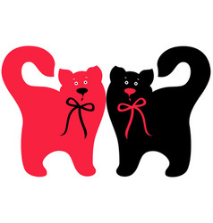 Red and black elegant cats vector