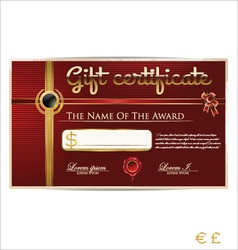 Red gift certificate vector image vector image
