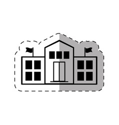 school college building thin line vector image