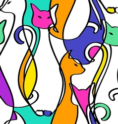 Seamless Pattern Of Geometric Abstract Cats vector image vector image